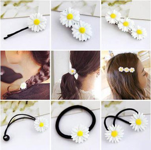 Wholesale new hair accessories double hair circle circle rope jewelrySummer small fresh daisy flower hairpin Korean version of the