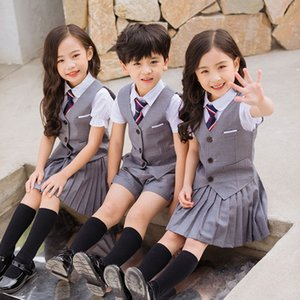 Wholesale Gray Kindergarten Primary School Uniform Kid Clothes Summer Ropa Kids Tracksuit Boys Clothes Girls Sets Clothing Group Outfits