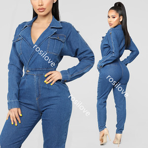 Wholesale 2019 new Early autumn sexy deep v wash denim jumpsuit looks skinny denim jumpsuit sexy deep v jumpsuit High quality fabric comfort