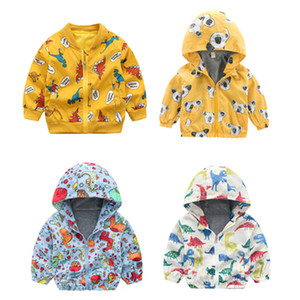 Infant Unisex Cartoon Printed Coat 10+Baby Baseball Uniform Boy Zipper Cotton Jacket Cartoon Dinosaur Printed Casual Hooded Outwear 1-6T on Sale
