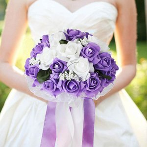 Wholesale Foam Rose Wedding Bouquet Lace edging leaves stamen Silk Ribbon Diamante Pearls Holding Flower Decoration