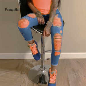 Wholesale light tear for sale - Group buy Orange Print Ripped Jeans For Women Denim Pencil Pants High Waist Skinny Boyfriend Jeans Torn Jeggings Large Size Mom