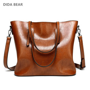 Wholesale DIDA BEAR Brand Women Leather Handbags Lady Large Tote Bag Female Pu Shoulder Bags Bolsas Femininas Sac A Main Brown Black Red T190918