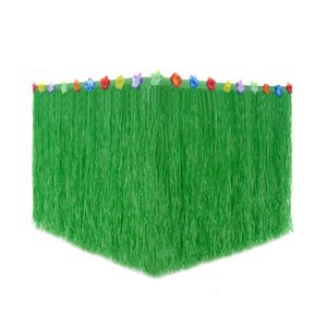 Wholesale Hawaii Table Skirt Magic Interface Family Party Outdoor Birthday Table Decoration Halloween Christmas Straw Color Flower Plastic kfC1