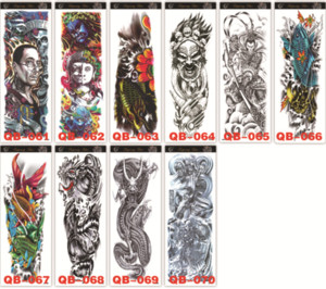 Wholesale 25 New Waterproof Temporary Tattoo Sticker Full Arm Large Skull Old School Tatoo Stickers Flash Fake Tattoos for Men Women