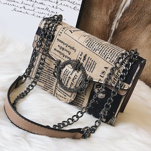 Wholesale Newspaper Printing Scrub Leather Handbags Women Chains Shoulder Bags Vintage Round Buckle Messenger Crossbody Bag Phone Purse