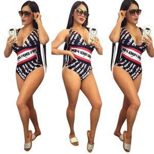 Wholesale FF Women Bathing Suits Summer One Piece Deep V neck Bikini Swimwear Clothing Suit