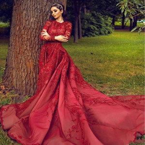 Wholesale 2020 Modest Arabic Red Evening Dresses A Line High Neck Long Sleeve 3D Flora Appliques Sequins With Long Train Party Gowns Custom Made