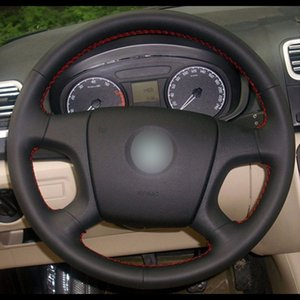 Wholesale skoda wheels resale online - Black Natural Leather Car Steering Wheel Cover for Old Skoda Octavia Fabia