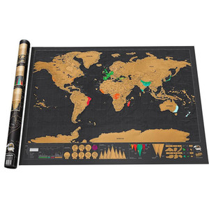 Wholesale Scratch off World Map Wall Sticker Erase Black World Map Best Decor Personalized Travel Scratch for Map Room Home Decor School Office