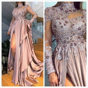 2019 Aso Ebi Arabic Lace Beaded Crystals Evening Dresses Long Sleeves Sexy Prom Dresses Chiffon Formal Party Second Reception Dresses Gowns on Sale