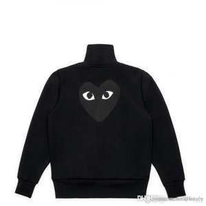 Wholesale Best Quality COMM des GARCONS PLAY CDG HOLIDAY Heart Emoji Unisex Casual Little Red Heart Pullover Hoodies Zip Sweatshirt Coat C059F Black