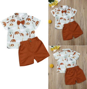 2pcs Casual Suit for Toddler Kids clothing Baby Boys sets Animal T-Shirt Shorts Children's Boy Summer Clothes Set on Sale