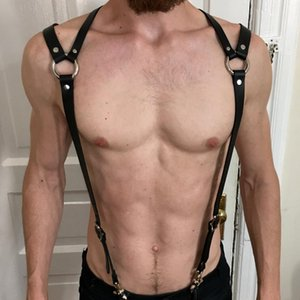 Wholesale 2019 Leather Harness Men Bondage Belt Gay Adult Game Outfit Adjustable Chest Crop Top Suspender Male Garter Costume Exotic Tanks
