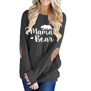 Wholesale Track Ship New Arrival Autumn Warm Fashion T shirt Top Tee Long Sleeve Mama Bear Love You
