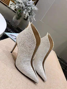 19ss autumn women party dress ankle boots white blue pink bling bling design fashion female wedding boots high heeled single shoes mujers