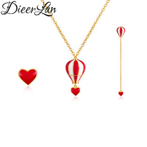 Wholesale Bridal Jewelry Sets Dubai Sterling Silver Long Hot Air Balloon Earrings Heart Necklaces Pendant for Women Party