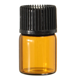 200pcs 2ML Mini Amber Glass Essential Oil Bottle Empty Sample Vials Brown Refillable Bottles With Orifice Reducer & Cap on Sale
