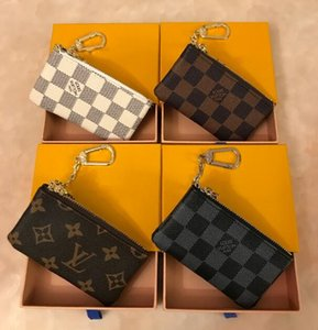 Wholesale KEY POUCH Damier leather high quality classical designer women key holder coin purse small leather Key money purses with boxes