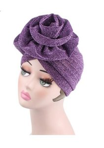 New European And AmeriCan Autumn And Winter Bright Silk Flower Headband Hat Muslim Indian Hat Knitted Hat