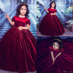 Wholesale velvet flower girls dresses resale online - 2020 Velvet Flower Girl Dresses for Wedding Short Sleeve Jewel Neck Beading Ruffle Toddler Pageant Dress Kids Princess Prom Gowns