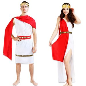 Wholesale Men Women Boy Girl Greek Roman Cosplay Costume Grecian Goddess God Carnival Halloween Fancy Dress Clothing Set ChristmasMX190921
