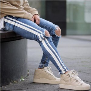 Fashion Mens Slim Pencil Jeans White Striped Skinny Ripped Denim Pants with Pockets Washed Street Style Pants