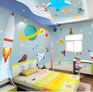 Wholesale Bacaz d Cartoon Wall paper Outer Space Rocket Universe d Cartoon Ceiling Wallpaper Murals for Kids Child Baby Room Sticker