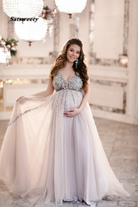 Wholesale Sequin Maternity Prom Dresses Baby Shower Gowns with Tulle Skirt A line Sleeveless V neck Tulle Evening Party Gowns
