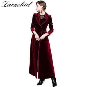 2019 Spring Autumn Burgundy Velvet X-Long Overcoat Women's Notched Collar Outwear Vintage Ankle Length Thick Maxi Trench Coat