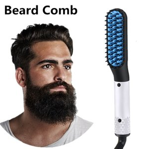 Wholesale Quick Hair Straightener Brush Professional Beard Straightener Comb Electric Men s Hair Styling Comb Ceramic Coating Heating Comb