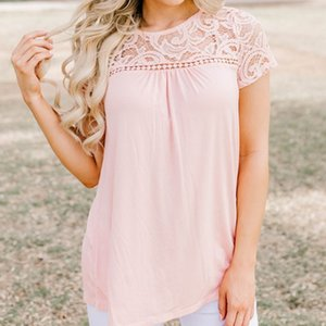 Wholesale 2019 Summer T Shirts Women Chiffon Plain Lace Hollow Tops T Shirts Casual Slim Round Neck Tee Short Sleeve