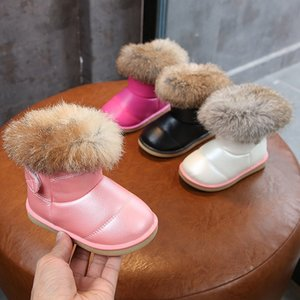 Little Girls Winter Snow Boots School Kids Warm Short Boots Sweet Plush Feather Fur Toddler Little Kids Size 21-30