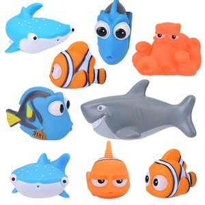 Wholesale 8pcs Bath Toys Fish Toy Baby Bathroom Swimming Children Rubber Classic Educational Hobbies For Girls Kids Play Animals Q190531