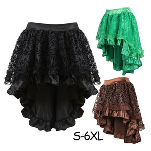 Wholesale Victorian S Xl Women Corset Ruffled Satin Trim Gothic Skirts Dress Vintage Steampunk Lace Skirt Cosplay Costumes