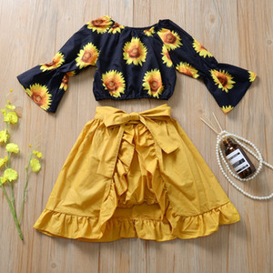Baby Floral Bell Sleeve Tops and PP Pant Halter Skirt 3pcs Sets Summer Spring Holiday Beach Fashion Ruffles Girls Clothing