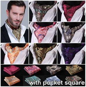 Wholesale Paisley Floral Silk Ascot Pocket Square Cravat Jacquard Dress Scarves Ties Woven Party Ascot Handkerchief Set EFA