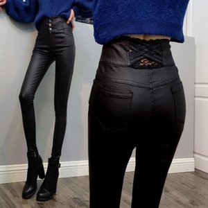 Wholesale 2019 New High Quality Women Leather Pants Womens Wear Plus Velvet Leggings Autumn And Winter High Waist Was Thin Coating PU tight feet pants