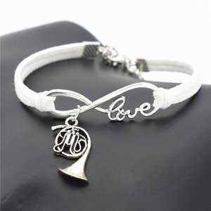 Wholesale Infinity Love French Horn Music Trumpet Pendant Charm Bracelet Bangles With White Leather Fit Original Jewelry For Women Men Special Gifts