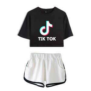 Wholesale Tik Tok Software New Summer Kpops Women Two Piece Set Shorts And Lovely T shirts Clothes Hot Sale Harajuku Print Y19042901