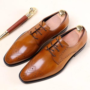 Wholesale Wine Red Brown Design Handmade Fashion Shoes Luxury Wedding Party Genuine Leather Business Brogue Dress Shoes Men Footwear