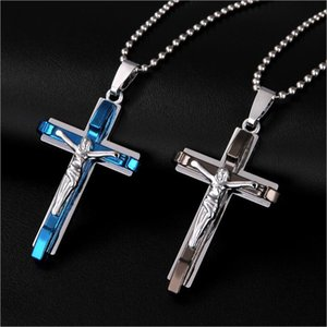 Wholesale New Men Silver Black Blue Stainless Steel Jesus Christ Cross Crucifixion Pendant Necklace Chain Jewelry Gift