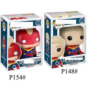 Wholesale New Style Funko POP Captain Marvel Collectible toys Black widow Action Figure Avengers Alliance4 Big Eye Doll PVC Toy for kids gift C21