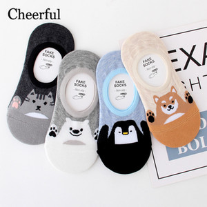 Wholesale 2019 New Korean Bear Invisible Socks Women Cute Wild Summer Boat Socks Personality Casual Sports Non slip