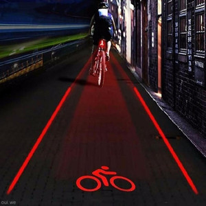 Bicycle 2 Laser Projector Red Lamps Beam And 3 Led Tail Lights Bicycle Light Safety Warning Laser Night Mountain Bike Rear Light