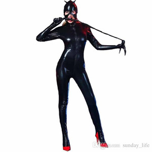 Wholesale Plus Size M XXL Lingerie Sexy Bodysuit Open Crotch Leather Teddy Vinyl Leotard Fetiche Spandex Latex Catsuit Women Bodystock