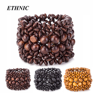 Wholesale Vintage Wide Bohemian Wood Beads Elastic Wrap Chain Bracelets for Women Men Fashion Bracelet Dropship