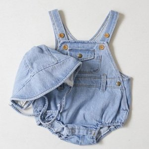 Baby Boys Girls Denim Overalls 2019 Summer New Children's Jumpsuit With Hat Solid Jean Rompers Infant Modis Kids Clothes Y1271 on Sale