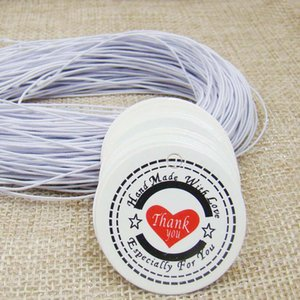 Wholesale 3 cm white Price brand Tags300pcs round Hang Tags Strings elastic white printed Thank you Packing Labels tag gift tag