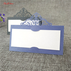 Wholesale 10pcs Laser Cut Wedding Party Table Name Place Cards Name Cards Pearlescent Message Setting Card Wedding Birthday zsh873